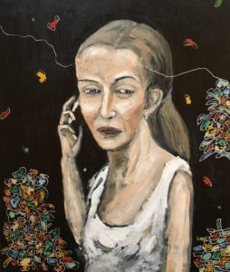 Carlos Baonza. 'El desencuentro'. Óleo y grabado sobre madera, 60 x 50 cm