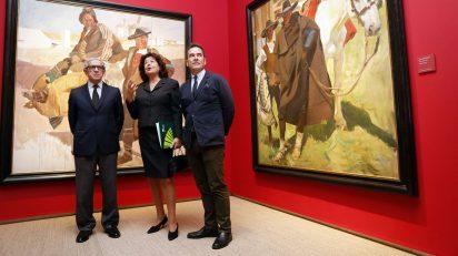 El acto de presentación de 'Sorolla tierra adentro' ha contado con el presidente de la Fundación Unicaja, Braulio Medel; del conservador del Museo Sorolla, Enrique Varela; y de la comisaria de la exposición, Carmen Pena.