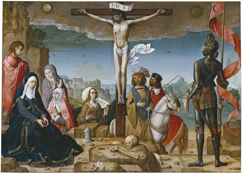 'La crucifixión', de Juan de Flandes, tabla que estuvo situada en la calle central del retablo de la Catedral de Palencia. Hoy se encuentra en el Museo del Prado.