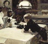 Joaquín Sorolla. Clotilde con los hijos, día de Reyes, 1900. Gouache y toques de oleo sobre papel. Fundación Museo Sorolla.