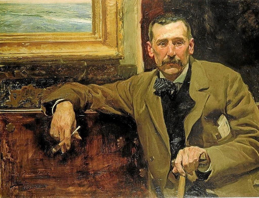 Cuadro realizado por el pintor Joaquín Sorolla en el que aparece retratado el escritor Benito Pérez Galdós. Horizontal.
