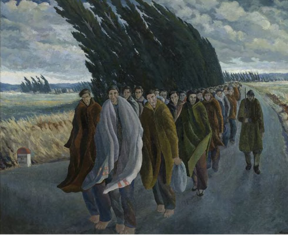 'Camí de l'exili', de Josep Franc Clapers (1940). ARXIU NACIONAL DE CATALUNYA FONS JOSEP FRANCH-CLAPERS.