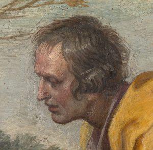 San Diego de Alcalá recibiendo limosna (fragmento). Annibale Carracci 1604 – 1607. Pintura al fresco. Revestimiento mural trasladado a lienzo. 126 x 223,5 cm. Madrid, Museo Nacional del Prado.