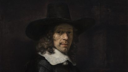 Rembrandt. Retrato de un caballero con sombrero y guantes. h. 1656-58. Washington, National Gallery oj Art, Widener Collection.