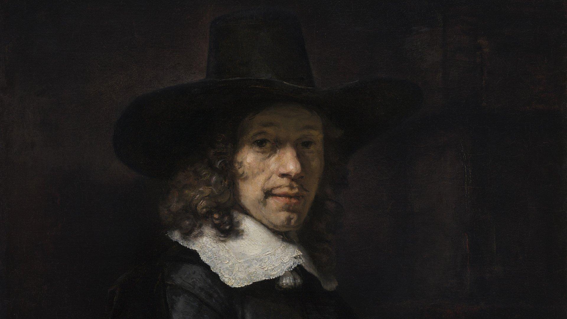 Rembrandt. Retrato de un caballero con sombrero y guantes. h. 1656-58. Washington, National Gallery oj Art, Widener Collection.