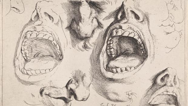 Modelos de narices y bocas. José de Ribera (1591-1652). Aguafuerte, primer estado h. 1622. Colección particular.