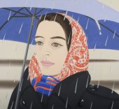Alex Katz, Blue Umbrella #2, 1972. Oil on canvas. 96 x 144 inches. Collection of Peter Blum, NYC.