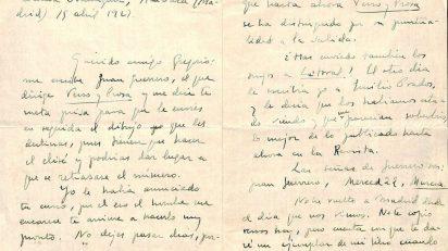 Carta de Vicente Aleixandre a Gregorio Prieto de abril de 1929. FUNDACIÓN GREGORIO PRIETO.
