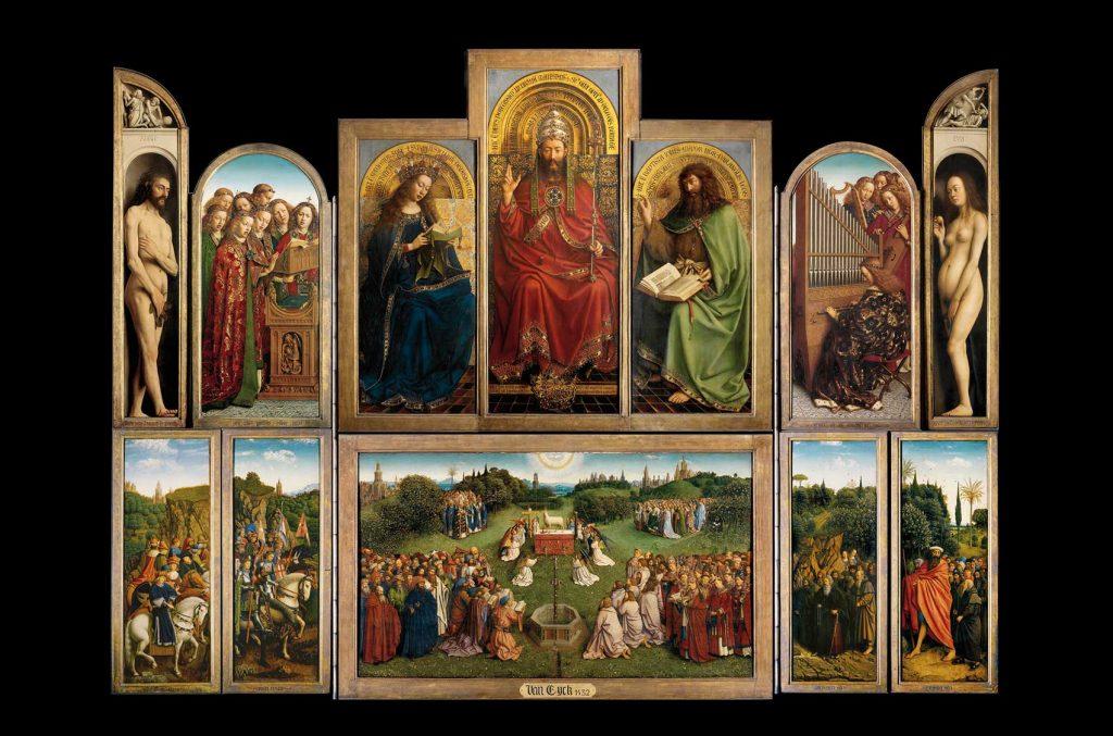Políptico de La Adoración del Cordero Místico (abierto), por Hubert y Jan van Eyck, 1430-32. Gante, catedral de San Bavón.
