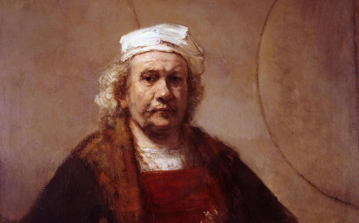 Rembrandt. Autorretrato con paleta y pinceles, hacia 1660-1665.