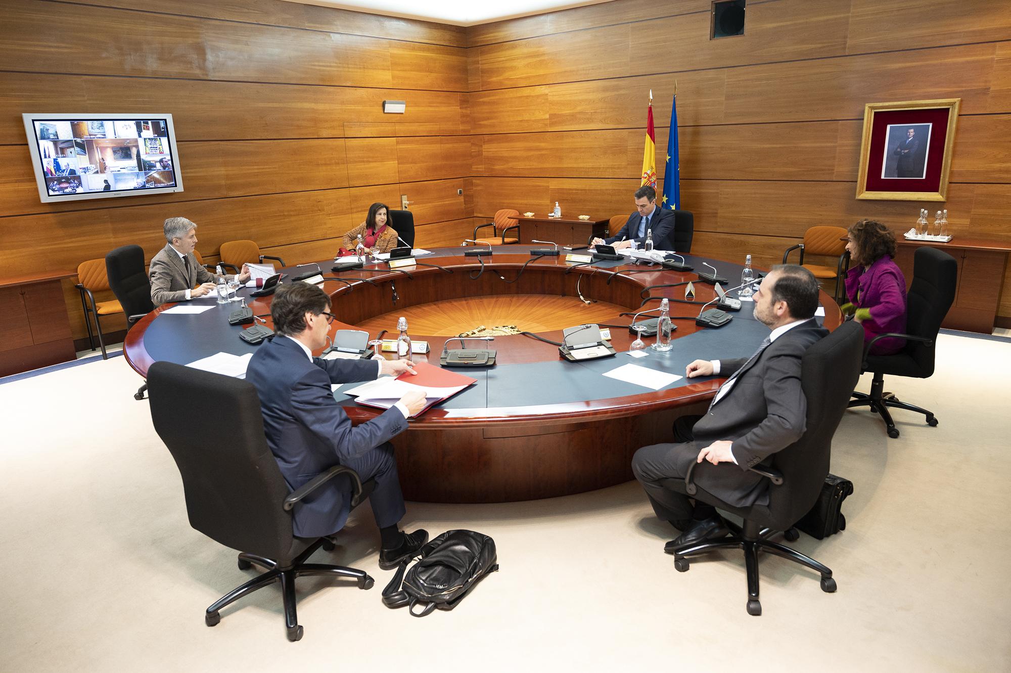 El presidente del Gobierno, Pedro Sánchez, durante la reunión del Consejo de Ministros celebrada en La Moncloa. Pool Moncloa / Borja Puig de la Bellacasa.