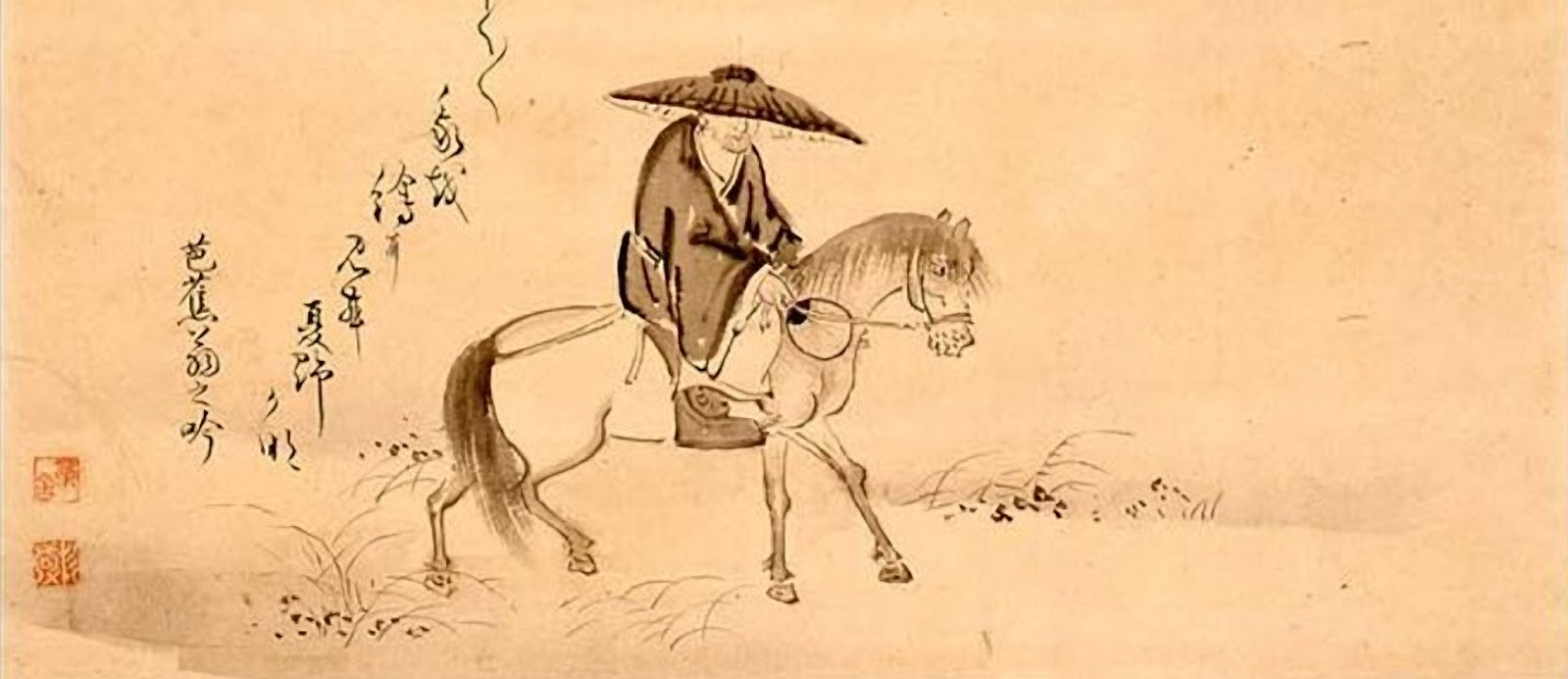 Matsu Basho montando en un caballo, dibujo por Sugiyama Sanpo.