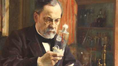 Louis Pasteur trabajando en el laboratorio de la École Normale Supérieur de París. Pintura al óleo de Albert G. A. Edelfelt.
