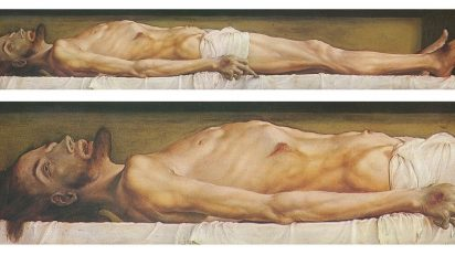 The Body of the Dead Christ in the Tomb and a detail. óleo y témpera sobre madera de tilo, 30.5 × 200 cm, Kunstmuseum Basel.