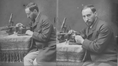Autorretratos tomados por Cajal en su laboratorio en Valencia (España) cuando tenía poco más de treinta años, c. 1885-1887. Legado Cajal. CSIC.