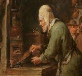 El alquimista (detalle). 1631 - 1640. David Teniers. Museo Nacional del Prado.