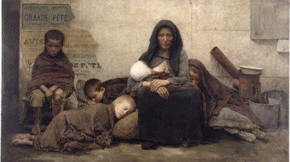 """Fernand Pelez (1848-1913). """"Sans asile"""" ou """"Les Expulsés"""", 1883. Musée des Beaux-Arts de la Ville de Paris, Petit Palais."""