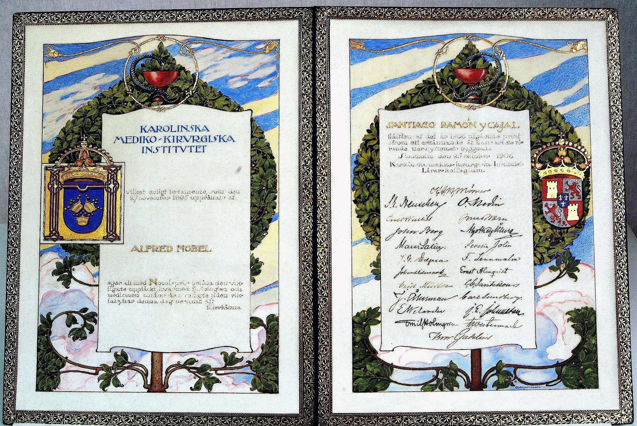Diploma del Premio Nobel concedido a Santiago Ramón y Cajal, 1906.