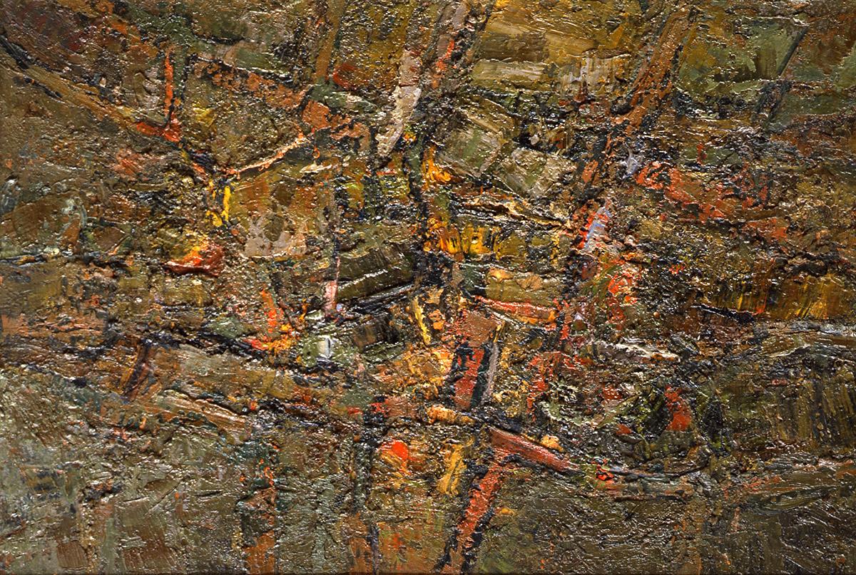 Orlando Pelayo. Asturias en el recuerdo (1959). Óleo sobre lienzo, 50 x 73 cm.