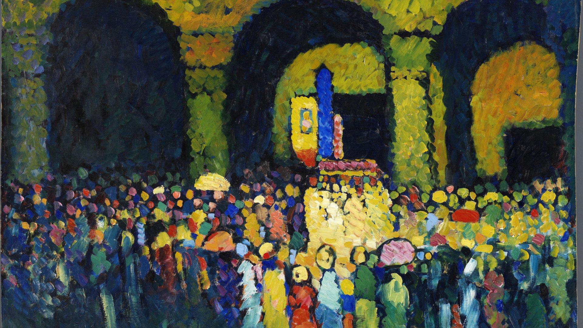Wassily Kandinsky. 'La Ludwigskirche en Múnich', 1908. Colección Carmen Thyssen-Bornemisza. © Wassily Kandinsky, VEGAP, Madrid.