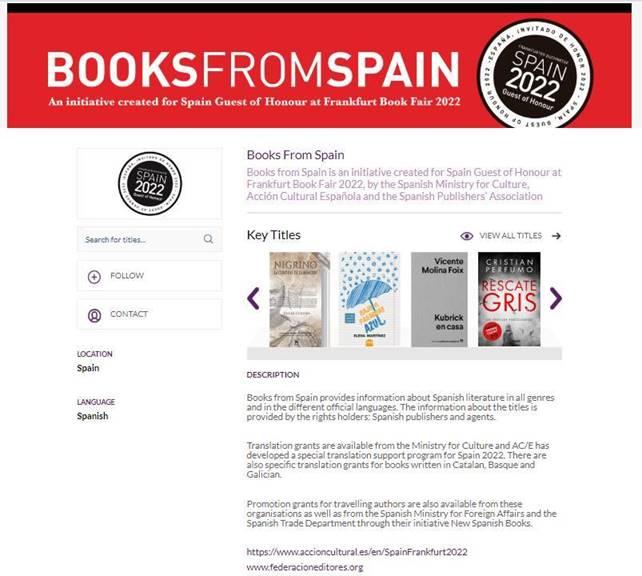 Pantallazo Books from Spain