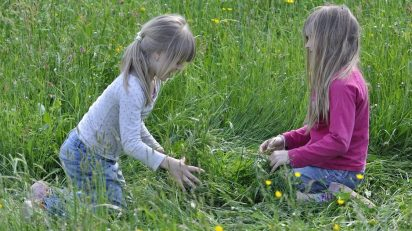 human_children_girl_blond_personal_meadow_grass_nature
