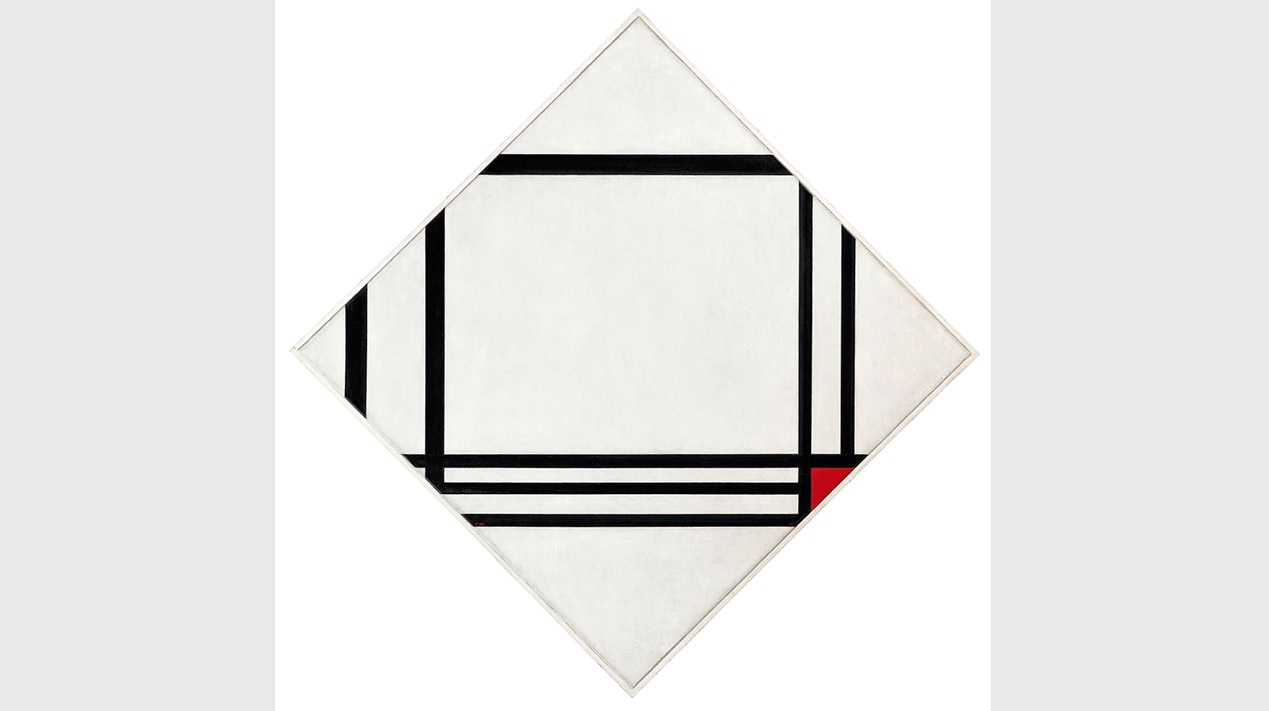 Piet Mondrian, Lozenge Composition with Eight Lines and Red (Picture no. III), 1938. Fondation Beyeler, Riehen/Basel, Beyeler Collection.