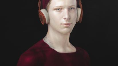 'Medicine Bow (Diego con cascos)', 2020. Pigmentos naturales y resina acrílica sobre lienzo.