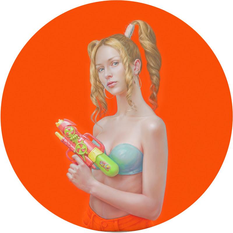 Salustiano. 'Zahara con pistola de agua'. 2019. Óleo, pigmentos naturales y resina acrílica sobre lienzo. Cortesía de la Galería Lucía Mendoza.