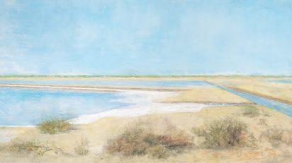 Carmen Laffón. 'La Sal, Salinas de Bonanza, Sanlúcar de Barrameda, Los Caños, Esteros'. 136,5 x 255 cm. ©Claudio del Campo.