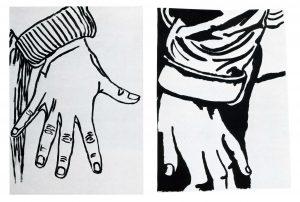 Serie: 'Juguemos a prisioneras'. Azucena Vieites. Dibujo. Acrílico sobre papel. 1992. Tamaño: 50 x 70 y 48 x 65 cm.