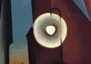 Georgia O'keeffe. Calle de Nueva York con luna, 1925. Óleo sobre lienzo. 122 x 77 cm. © Georgia O'Keeffe Museum, VEGAP, Madrid.