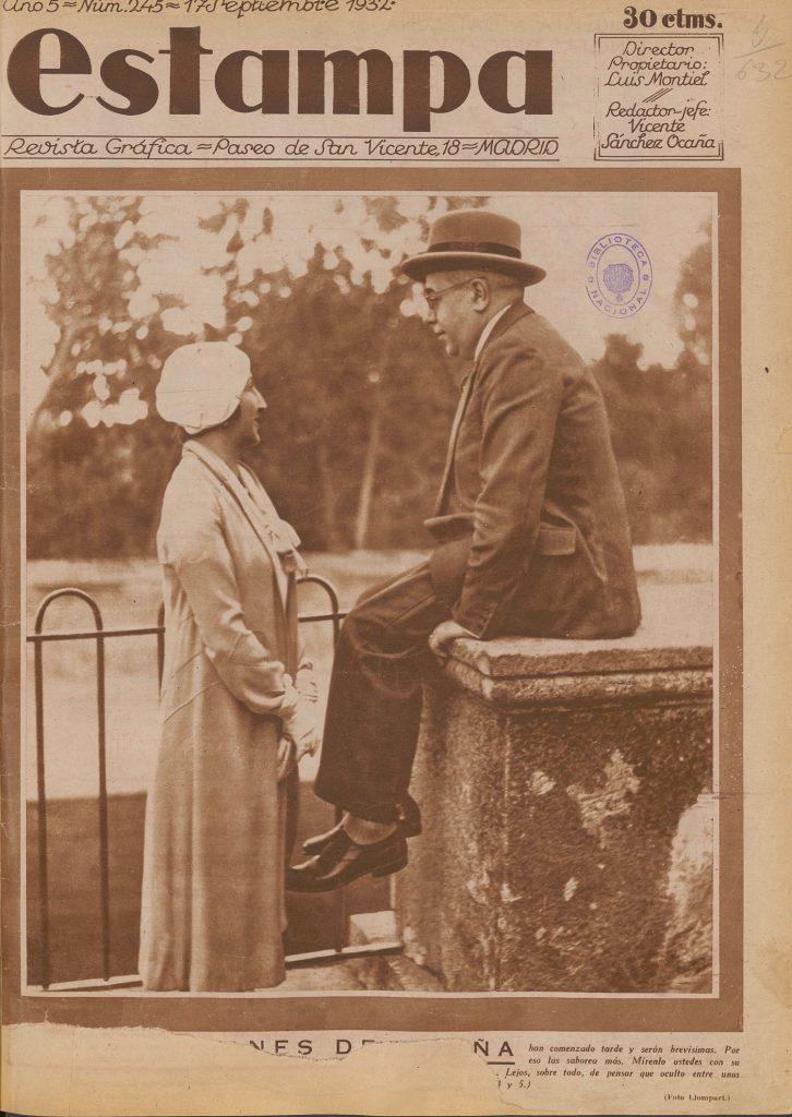 Llompart. Manuel Azaña y Lola de Rivas. Fotografía publicada en 'Estampa' (17 de septiembre de 1932) Biblioteca Nacional de España AHS /46314.