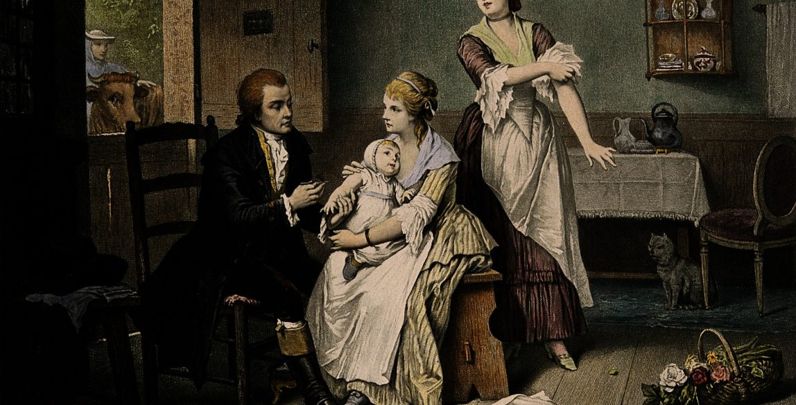 Edward Jenner vaccinating his young child, held by Mrs Jenn. Credit: Wellcome Library, London.