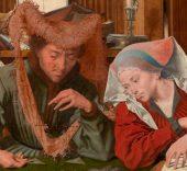 'El cambista y su mujer'. Marinus van Reymerswaele, 1539. Óleo sobre tabla. 83 x 97 cm. Madrid, Museo Nacional del Prado.