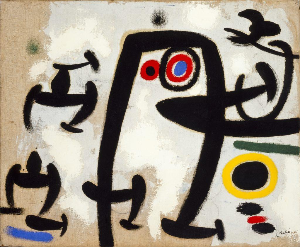 Joan Miró. 'Mujeres y pájaros II', 1969. Óleo sobre lienzo 50 x 61 cm. Colección Particular en depósito temporal. © Successió Miró 2020.