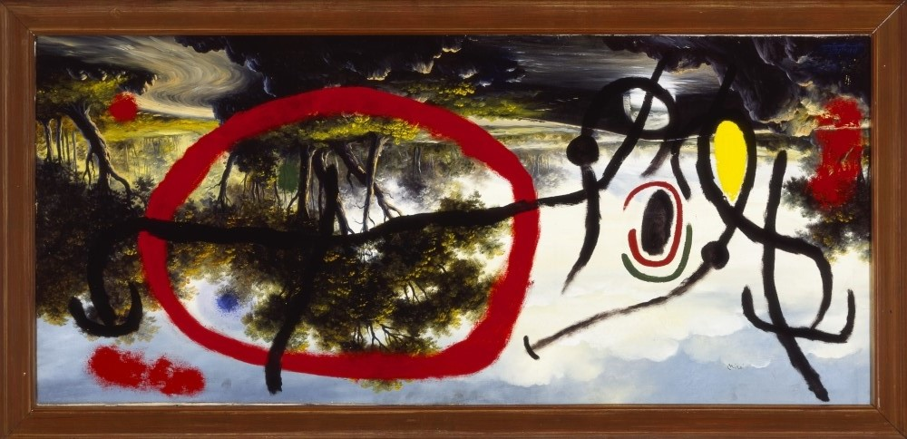 """Joan Miró. 'Personaje al amanecer en la orilla de un río', 1965. Óleo sobre lienzo estilo """"pompier"""". 95 x 197 cm. Colección Particular en depósito temporal. © Successió Miró 2020."""