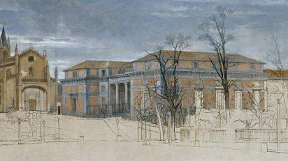 Detalle de El Salón del Prado y la Iglesia de San Jerónimo, h. 1871. Eduardo Rosales. Museo Nacional del Prado.