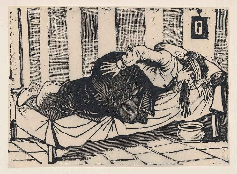 A man leaning over the side of a bed vomiting, from a broadside entitled 'Death of Aurelio Caballero due to yellow fever in Veracruz' MET.