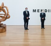 Miguel Zugaza, director del Museo de Bellas Artes de Bilbao; Gorka Martínez, director general de BBK; y Juan Pablo Huércanos, comisario de la exposición.