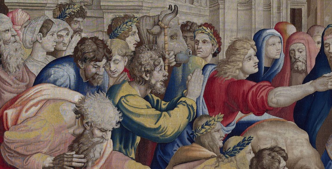 'San Pablo y san Bernabé en Lystra' (detalle). Jan van Tieghem, Frans Gheteels, Rafael Sanzio. h. 1550-1560. Tapiz de seda y lana. 485 x 746 cm.