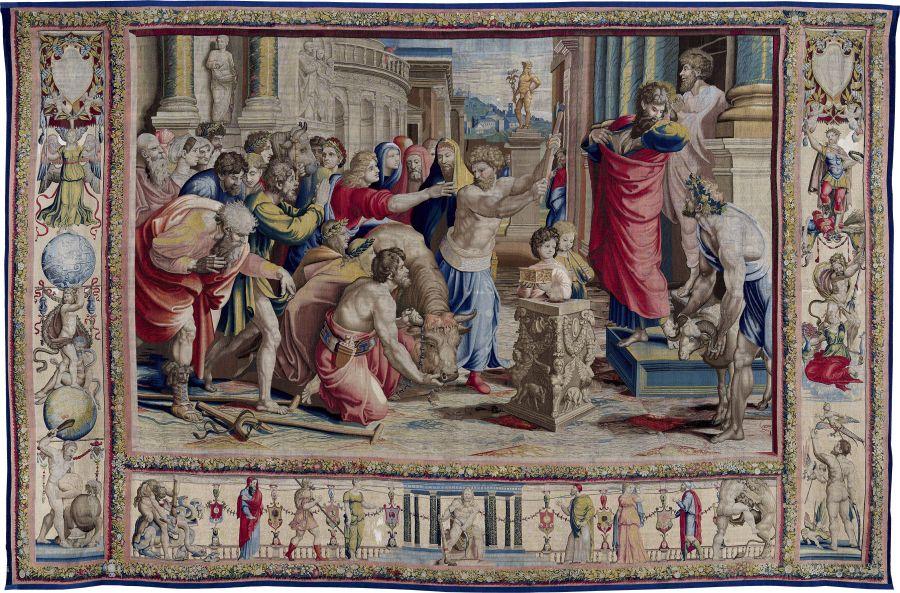 'San Pablo y san Bernabé en Lystra'. Jan van Tieghem, Frans Gheteels, Rafael Sanzio. h. 1550-1560. Tapiz de seda y lana. 485 x 746 cm.