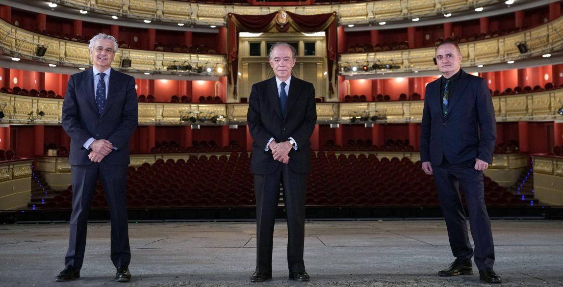 Equipo directivo del Teatro Real (de izquierda a derecha): Joan Matabosch, director artístico; Gregorio Marañón, presidente, e Ignacio García-Belenguer, director general. © Javier del Real / Teatro Real.