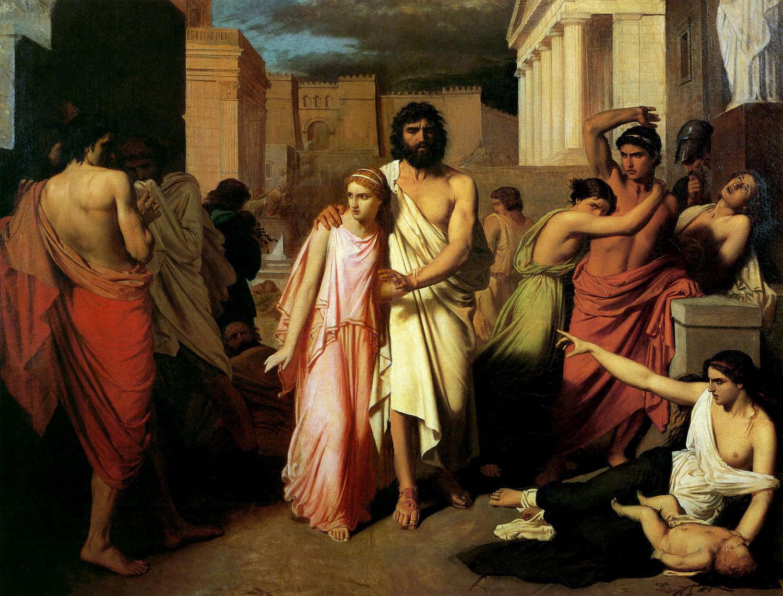 Charles Jalabert: 'Edipo y Antígona' (Œdipe et Antigone, 1842). Antígona y su padre, Edipo, abandonan la ciudad de Tebas.