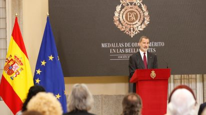 El Rey durante su intervención tras la entrega de las Medallas de Oro al Mérito de las Bellas Artes. © Casa de S.M. el Rey.