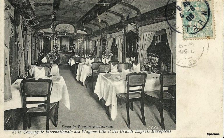 A vintage postcard showing the Dining car of the Orient Express, 1910 c.ca One of the rare public pictures.