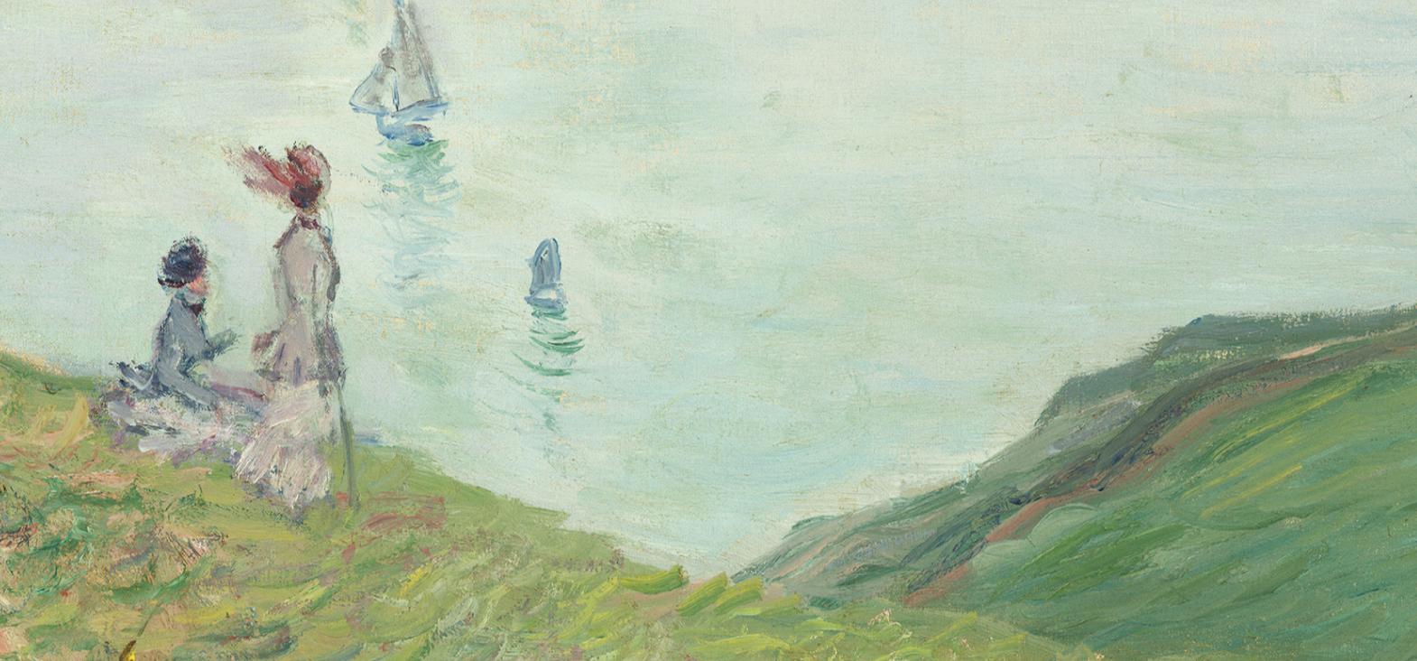 Fragmento de 'Acantilados en Pourville' (1882), de Claude Monet.