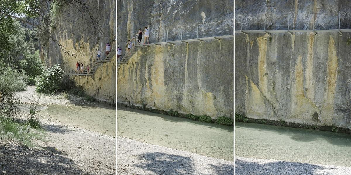 Eduardo Marco Miranda. Arquitectura para la experiencia en la naturaleza. Alquezar, 2021. Impresión con tintas pigmentadas. Papel ILFORD GALERIE, satinado perla. Políptico. 100 x 75 cm c/u.