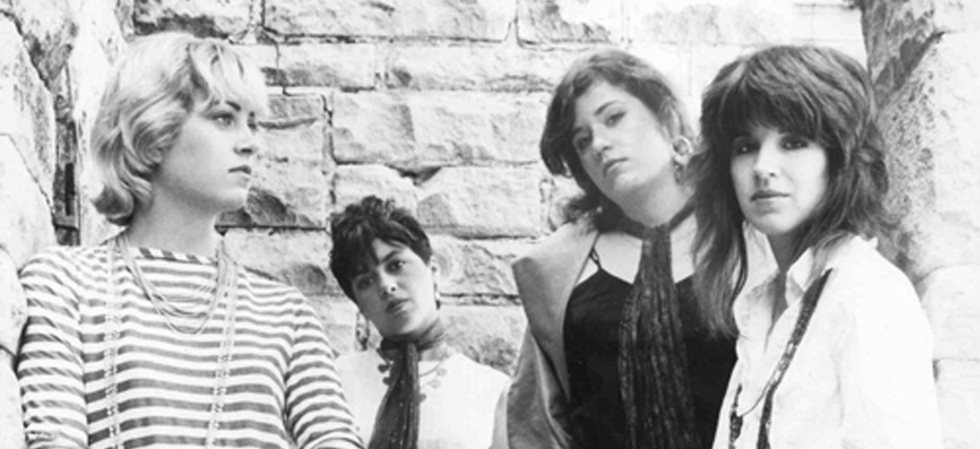 The Bangles, circa 1983/early 1984. Left to right: Debbi Peterson, Susanna Hoffs, Vicki Peterson and Michael Steele. Image courtesy of Debbi Peterson's facebook.
