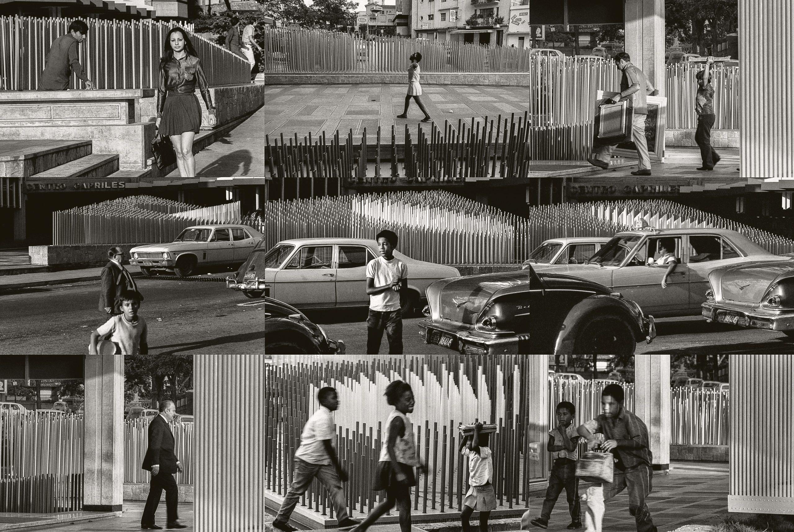Paolo Gasparini Obra cinética de Jesús Rafael Soto «Progresión a centro móvil», 1969, Caracas, 1970 Fotomural de nueve copias digitales 40 × 60 cm Colecciones Fundación MAPFRE © Paolo Gasparini
